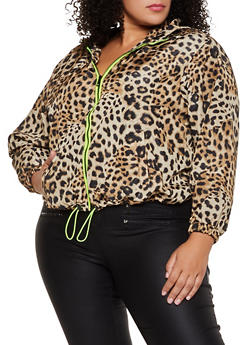Plus Size Neon Zip Hooded Windbreaker - 3886051067686
