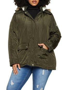 Plus Size Faux Fur Trimmed Hood Puffer Jacket - 3886051067779