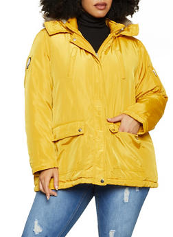 Plus Size Faux Fur Trimmed Hood Puffer Jacket - 3886051067779