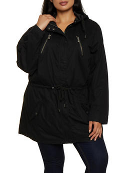 Plus Size Drawstring Waist Hooded Anorak Jacket - 3886051067797