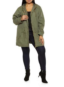 Plus Size Drawstring Waist Hooded Anorak Jacket - 3886051067797