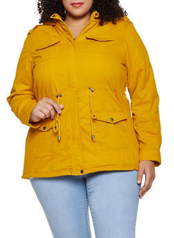 Plus Size Sherpa Lined Anorak Jacket - 3886051067803