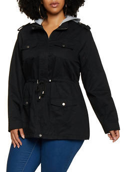 Plus Size Fleece Lined Hood Anorak Jacket - 3886051067805