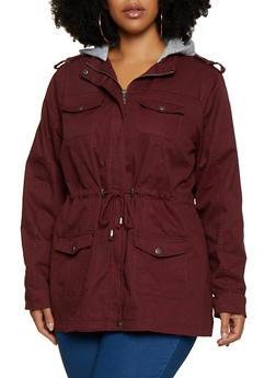 Plus Size Fleece Lined Hood Anorak Jacket - 3886051067805