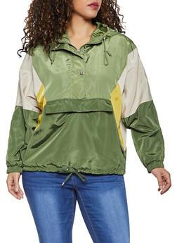 Plus Size Color Block Pullover Windbreaker Jacket - 3886051067881