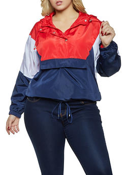 Plus Size Color Block Pullover Windbreaker Jacket - 3886051067881