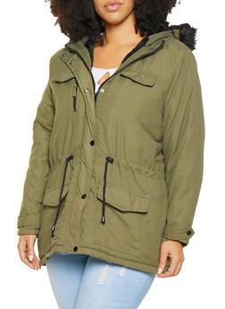 Plus Size Hooded Anorak Jacket - 3886051068047