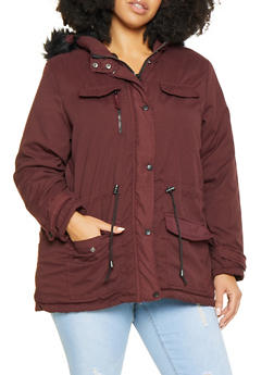 Plus Size Hooded Anorak Jacket - 3886051068047