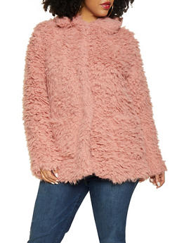 Plus Size Button Front Sherpa Jacket - 3886054260570
