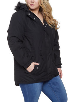 Plus Size Faux Fur Hooded Parka - 3886054260574