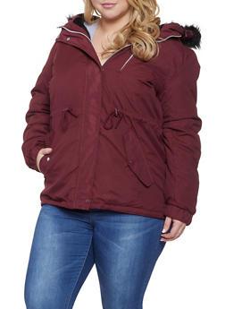 Plus Size Faux Fur Hooded Parka - 3886054260574