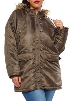 Plus Size Hooded Anorak Jacket - 3886054260871