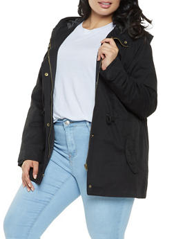 Plus Size Hooded Anorak Jacket - 3886054265430