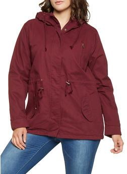 Plus Size Hooded Anorak Jacket - 3886054265430
