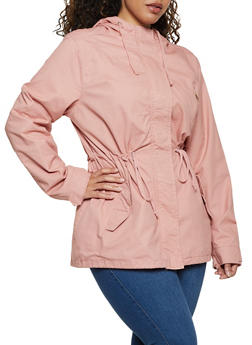 Plus Size Hooded Drawstring Waist Anorak Jacket - 3886054265431