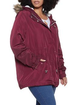 Plus Size Sherpa Lined Parka - 3886054268720
