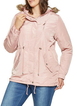 Plus Size Sherpa Lined Parka - 3886054268720