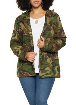 Plus Size Camo Hooded Anorak Jacket - 3886054268800