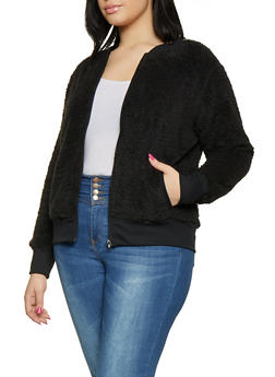 Plus Size Faux Fur Bomber Jacket - 3886061639019