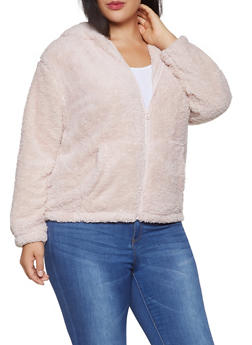 Plus Size Animal Ear Hooded Sherpa Jacket - 3886061639050
