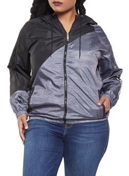 Plus Size Graphic Color Block Windbreaker - 3886063401807
