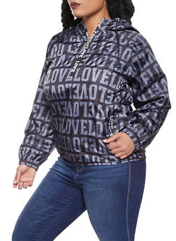 Plus Size Love Graphic Windbreaker - 3886063401808