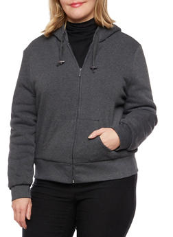 Plus Size Zip Hoodie with Sherpa Lining - 3886064212893