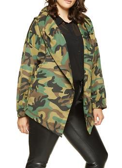 Plus Size Camo Tie Waist Jacket - 3886074288106