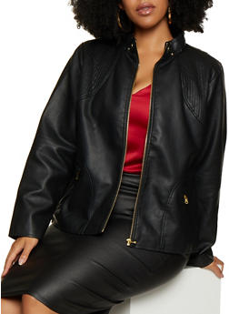 Plus Size Faux Leather Moto Jacket | 3887051060600 - 3887051060600