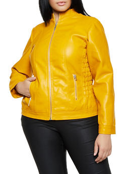 Plus Size Smocked Faux Leather Moto Jacket - 3887051060701
