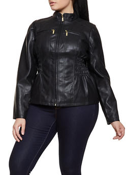 Plus Size Smocked Waist Faux Leather Moto Jacket - 3887051062926