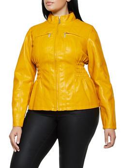 Plus Size Smocked Waist Faux Leather Moto Jacket - 3887051062926
