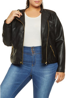 Plus Size Asymmetrical Zip Faux Leather Jacket - 3887051062963