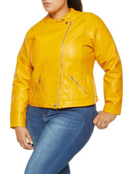 Plus Size Asymmetrical Zip Faux Leather Jacket - 3887051062963