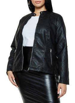 Plus Size Faux Leather Moto Jacket - 3887051063173