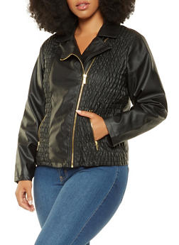 Plus Size Ruched Faux Leather Jacket - 3887051064080