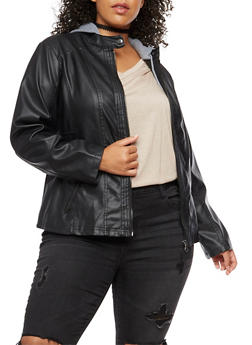 Plus Size Faux Leather Jacket with Fleece Lined Hood - 3887051065265