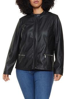 Plus Size Faux Leather Moto Jacket - 3887051065352