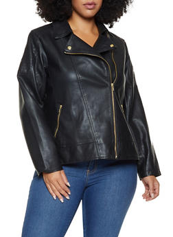 Plus Size Faux Leather Moto Jacket - 3887051065790