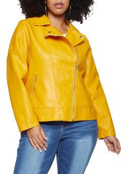Plus Size Faux Leather Moto Jacket - 3887051065790