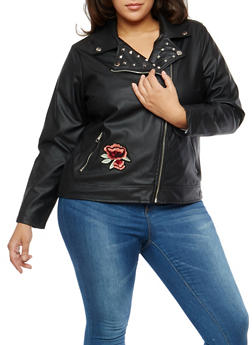 Plus Size Studded Floral Embroidered Moto Jacket - 3887051066078