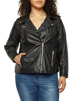 Plus Size Faux Leather Moto Jacket - 3887051066086