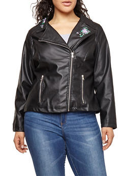Plus Size Embroidered Faux Leather Moto Jacket - 3887051066318