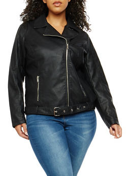 Plus Size Signal Lost Graphic Faux Leather Moto Jacket - 3887051066440