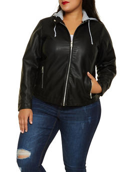 Plus Size Hooded Faux Leather Jacket - 3887051067049