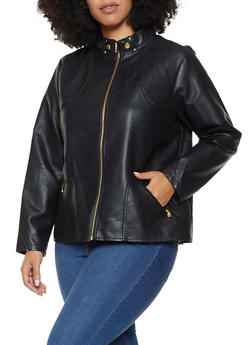 Plus Size Faux Leather Moto Jacket - 3887051067060