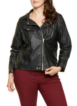 Plus Size Faux Leather Moto Jacket - 3887051067148