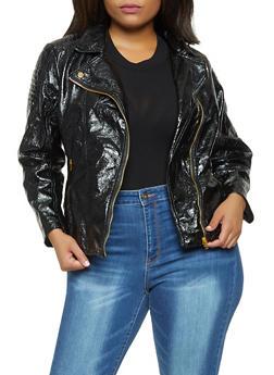 Plus Size Faux Leather Zip Up Moto Jacket - 3887051067183