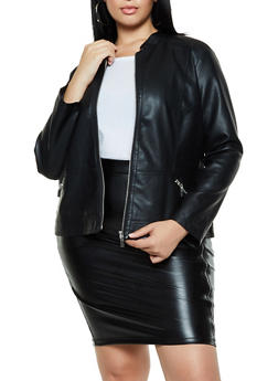 Plus Size Zip Pocket Faux Leather Jacket - 3887051067220