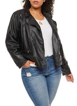Plus Size Sherpa Lined Moto Jacket - 3887051067412